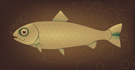 marina life: Vector golden fish with bubbles on brown background