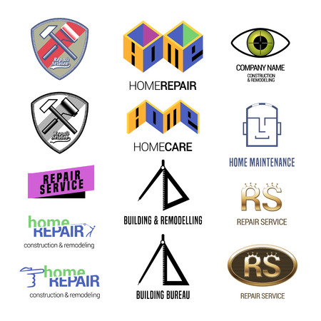 constuction: Set of repair service or constuction vector logos. Home repair concept emblems