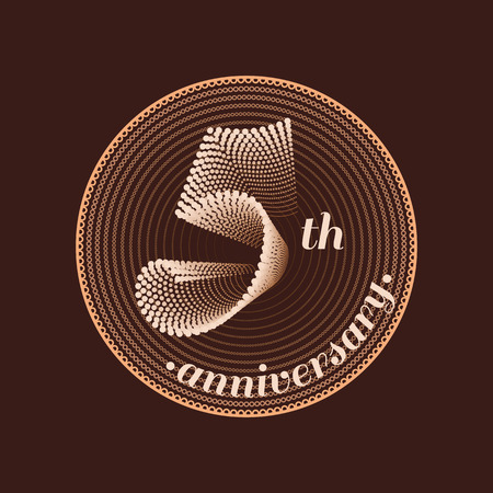 5th: 5 years anniversary vector icon. 5th celebration design. Illustration