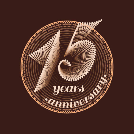 15 years: 15 years anniversary vector icon. 15th celebration design. Golden jubilee symbol