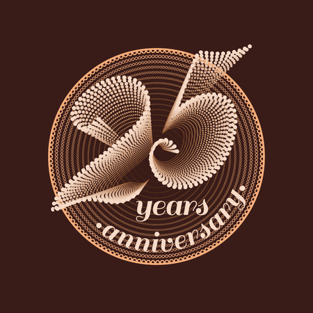 25th: 25 years anniversary vector icon. 25th celebration design. Golden jubilee symbol