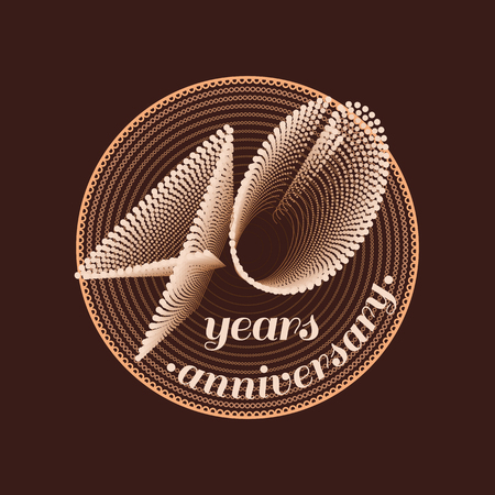 40: 40 years anniversary vector icon. 40th celebration design. Golden jubilee symbol Illustration
