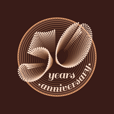 50th: 50 years anniversary vector icon. 50th celebration design. Golden jubilee symbol