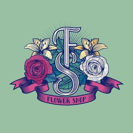 florist: Flower shop vector logo. Florist sign template