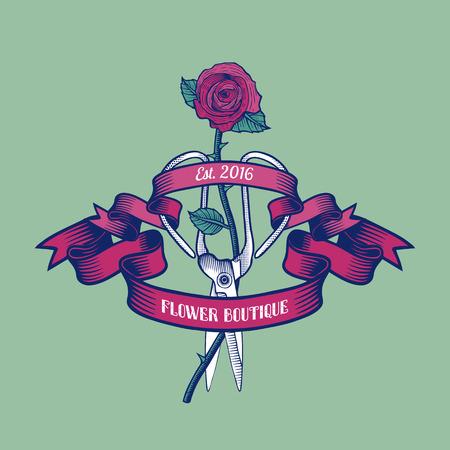 florist: Flower shop vector logo. Florist label template, design element Illustration