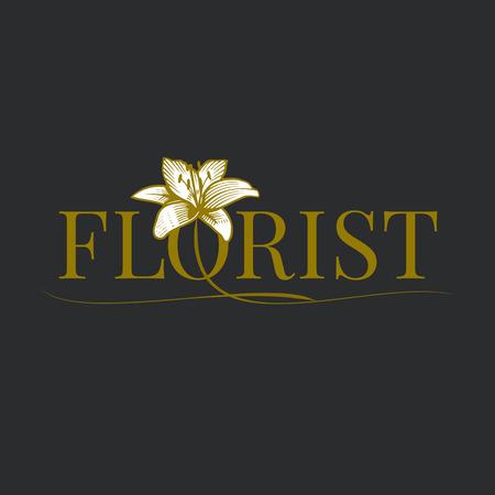florist: Flower shop vector logo. Florist design element