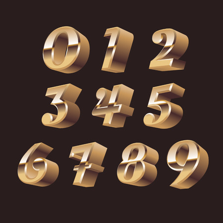 numeracy: 3d numbers set vector. 3d numbers symbols Illustration