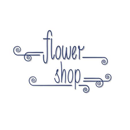Bloemenwinkel vector. Florist achtergrond. Hand getrokken letters