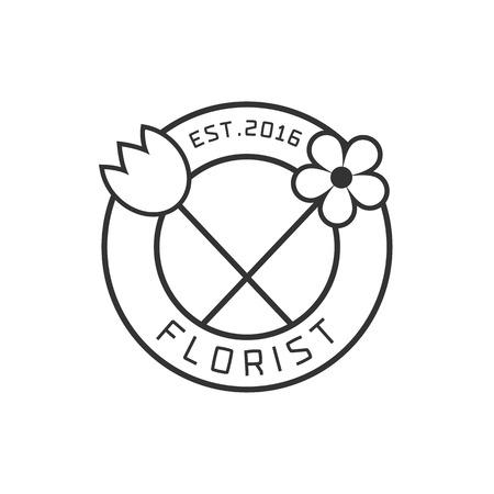 florist: Flower shop vector. Florist design element