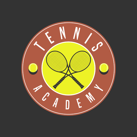 cross match: Tennis academy vector. Design element, concept illustration