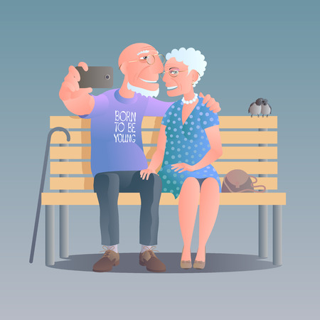 old people smiling: Old people happy and active vector illustration. Old people smiling