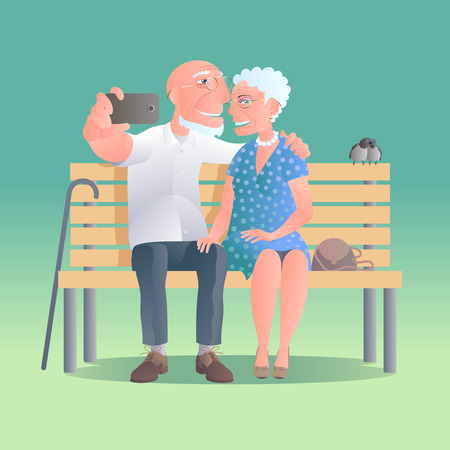 old phone: Old people happy and active vector illustration. Old people smiling
