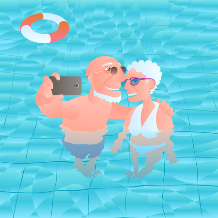 Old people travelling vector illustration. Old people smiling