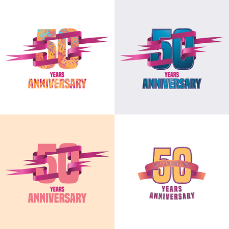 50th: 50 years anniversary vector icon set. 50th celebration design collection