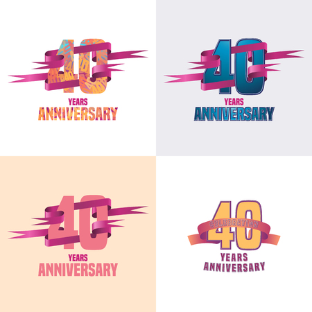 40th: 40 years anniversary vector icon set. 40th celebration design collection Illustration