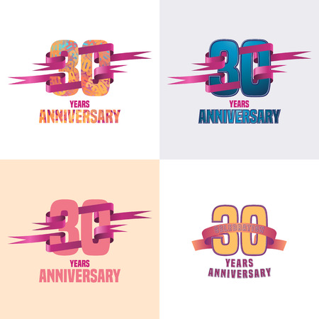 30 years anniversary vector icon set. 30th celebration design collection Çizim