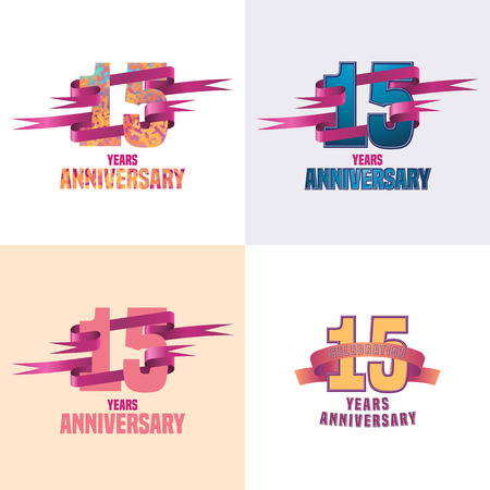 15th: 15 years anniversary vector icon set. 15th celebration design collection