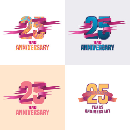 25 years anniversary vector icon set. 25th celebration design collection