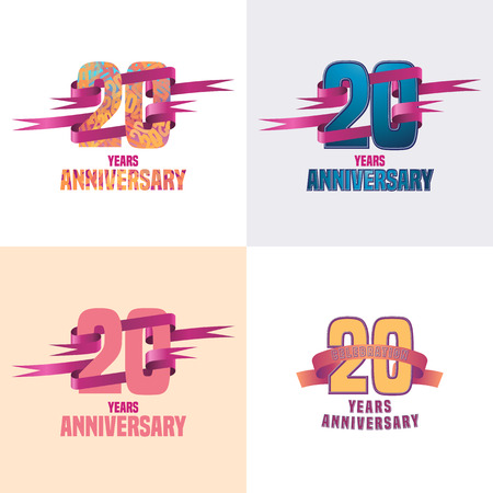 20th: 20 years anniversary vector icon set. 20th celebration design collection