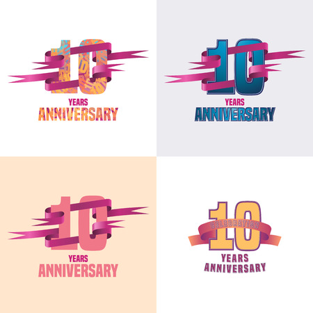 10 years: 10 years anniversary vector icon set. 10th celebration design collection Illustration