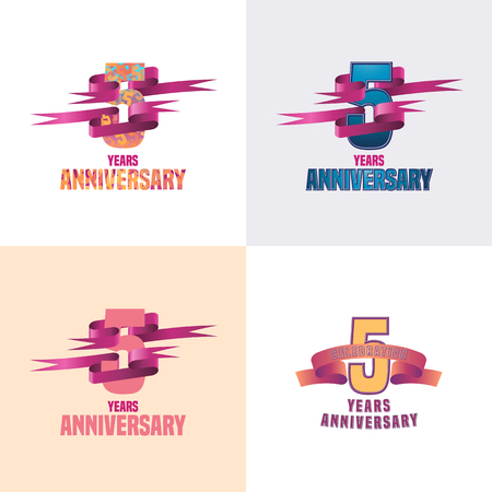 5 years: 5 years anniversary vector icon set. 5th celebration design collection
