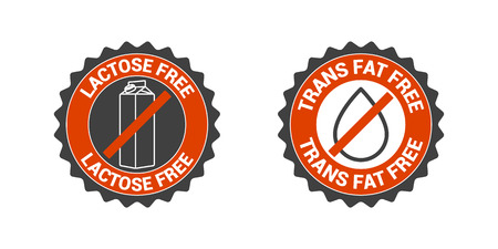 No trans fat, no lactose vector icon set. Label, badge, seal, sign collection Vettoriali