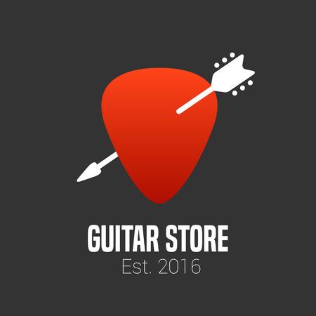 guitar pick: Guitar store vector. Music shop design element. Guitar pick illustration