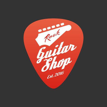 Guitar store vector. Music shop design element. Guitar pick illustration