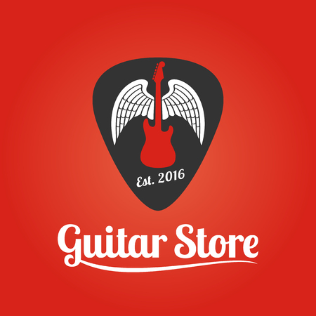 guitar store vector template music store sign royalty free cliparts