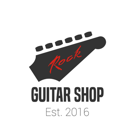 fingerboard: Guitar store vector template. Music shop sign. Fingerboard illusration