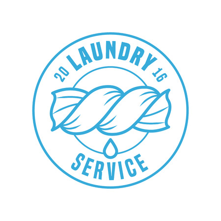 bleached: Laundry service vector template label, sign