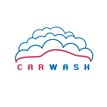 Car wash icon, design element. Car in bubbles Vettoriali