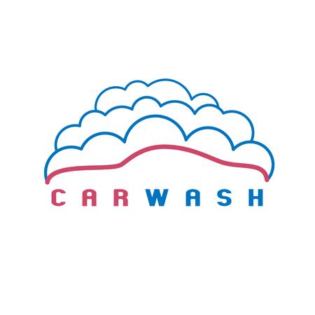 Car wash icon, design element. Car in bubbles Illustration