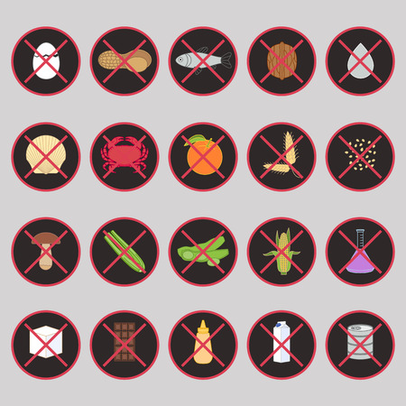 allergens: Vector set of warning labels for food allergens - gluten, lactose, etc - and GMO