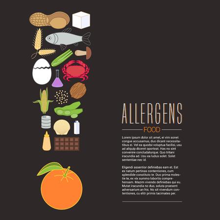 Vector elemento de diseño para el artículo, bandera, cartel. Plantilla de alérgenos alimenticios relacionados con el diseño