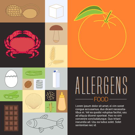 article: Vector design element for article, banner, poster. Template food allergen related design