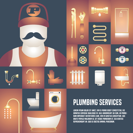 Plumbing service vector template design element for article, flyer, advertsigin materials. Plumbing tools and equipment