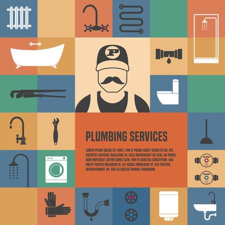 Sanitär-Service-Template-Design-Element für Artikel, Flyer, advertsing Materialien. Sanitär-Werkzeuge und Geräte Standard-Bild - 58105595
