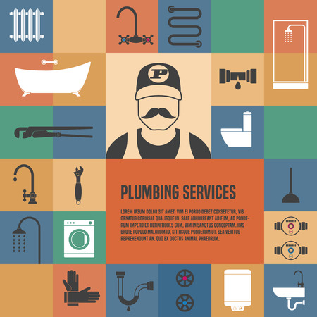 Plumbing service template design element for article, flyer, advertsing materials. Plumbing tools and equipment Stock Illustratie