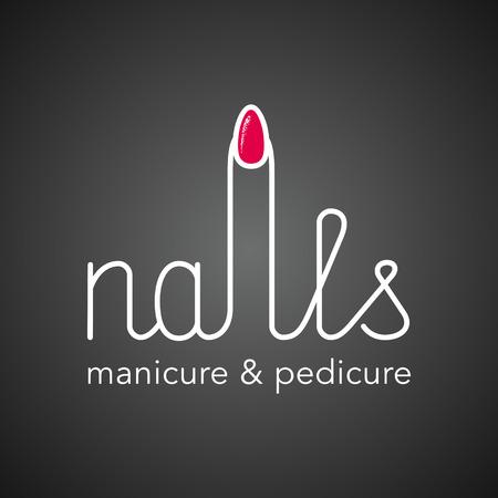 Manicure logo vectoriel. conception Nonstandard, lettrage dessiné à la main Banque d'images - 58114607
