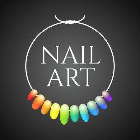 Manicure wektorowych logo. Niestandardowy projekt, kolorowych ilustracji