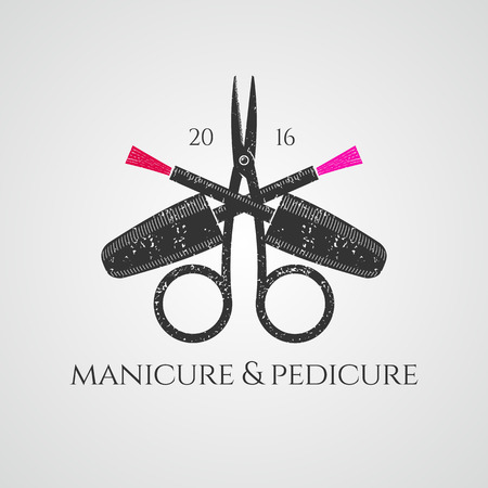 salon background: Manicure vector logo. Nonstandard design, colorful illustration