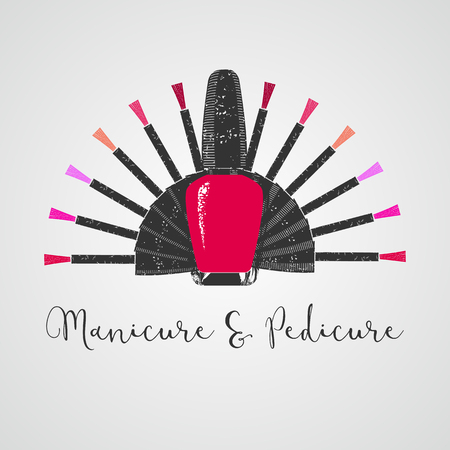 Nails vector logo. Sign, design element, illustration for manicure salon Ilustrace