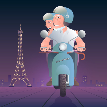 older woman smiling: Old people driving scooter in front of Eiffel tower vector illustration