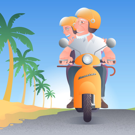 old people: Old people driving scooter along palm trees vector illustration Illustration