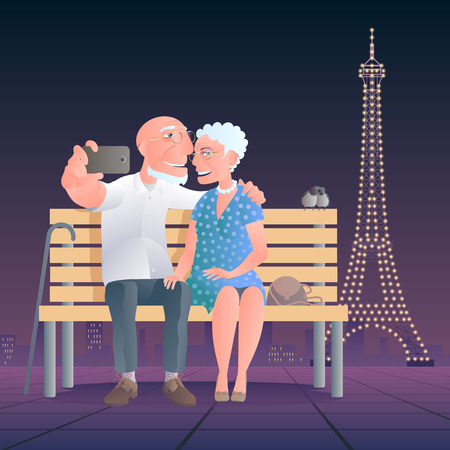 old people: Old people in front of Eiffel tower vector illustration Illustration