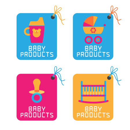 baby stickers: Baby products, items. Baby concept illustration