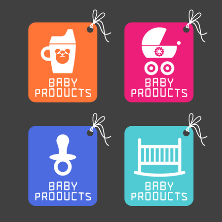 baby goods: Baby products, items. Baby concept illustration