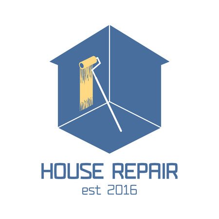 commercial painting: Home repair vector, badge, design element. House remodeling concept