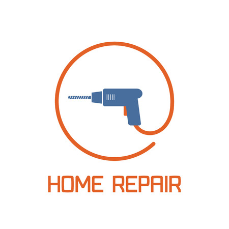 remodel: Home repair and remodel vector, icon, badge. House rebuildign concept